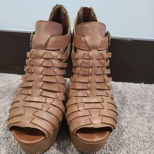 Steve Madden Wedge Brown Sandals Size 8